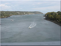 SH5571 : Fast craft approaching Pont y Borth from the Beaumaris direction by Eric Jones