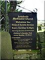 SD9523 : Lumbutts Methodist Church, Sign by Alexander P Kapp