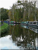 SO8690 : Private canal  moorings at Hinksford, Staffordshire by Roger  Kidd
