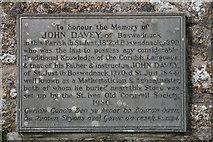 SW4538 : Plaque to John Davey, on the wall of Zennor church by Elizabeth Scott