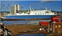 "J3474 : The ""Bassro Star"" at Belfast by Albert Bridge"