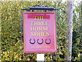 TM2556 : Three Horseshoes Public House Sign by Adrian Cable