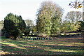 TA0249 : Yew trees and gravestones, St Mary's churchyard, Watton by Peter Church
