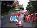 TM3569 : Roadworks on the A1120 Hackney Road by Adrian Cable