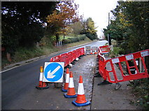 TM3569 : Roadworks on the A1120 Hackney Road by Geographer