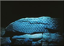 O1062 : Decorated stone at Fourknocks by Kieran Campbell