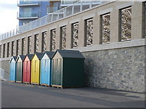 SZ1191 : Boscombe: beach huts and metal birds by Chris Downer
