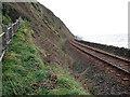 SH5729 : Cambrian Coast railway line beneath Harlech Cliff by John Lucas