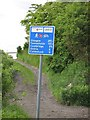 NS8666 : Milage sign, Airdrie - Bathgate cycle path by Richard Webb