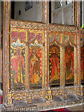 TG2834 : St Botolph's church - rood screen detail by Evelyn Simak