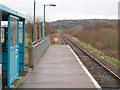 SH5726 : The view north from Llanbedr Station by John Lucas