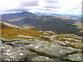 Ben Loyal Summit, An Caisteal - NS52, 764m (2507ft).       Looking WNW to Ben Hope (NS20) at 10.1km.  Left and right of centre at 23km are Cranstackie & Beinn Spionnaidh.  On the left edge of the picture is Arkle at 28km and to Arkle