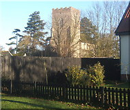 TM1273 : Yaxley Church tower seen from Ipswich Road by Andrew Hill