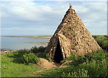 NU2516 : Reconstructed Mesolithic round-house by Andrew Curtis
