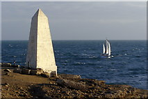 SY6768 : Obelisk and boat, Portland Bill by Jim Champion