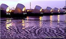 TQ4179 : The Thames Barrier before the dawn. by Ian Dalgliesh