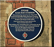 SJ8934 : 2008 : Plaque on Stone Railway Station by Maurice Pullin