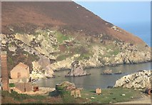 SH4094 : Sea stacks at Porth Wen by Eric Jones