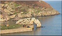 SH4094 : Sea arch and stacks at Porth Wen by Eric Jones