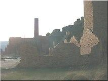SH4094 : The twin chimneys of Porth Wen Brick Works by Eric Jones