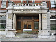 TQ3282 : The (former) main entrance to Moorfields Eye Hospital, City Road, EC1 by Mike Quinn