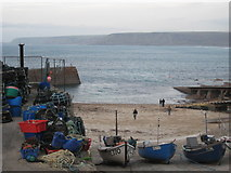SW3526 : Sennen Cove harbour on New Year's Day 2009 by Rod Allday