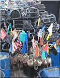 SW3526 : Lobster pots and floats in Sennen Cove harbour by Rod Allday