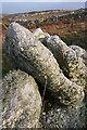 SW4237 : Lichen on wall at Carn Veslan by Bob Jones