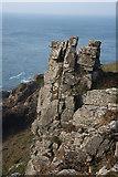 SW4237 : Rock outcrop at Porthmeor Cliff by Bob Jones