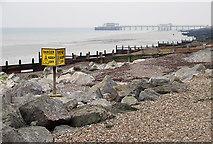 TQ1602 : Granite and Groynes, East Worthing, West Sussex by Roger  Kidd