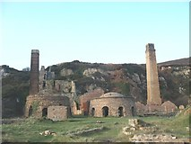 SH4094 : Kilns and chimneys at Porth Wen brickworks by Eric Jones