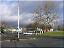 SO9568 : A38 Traffic Island outside Morrisons Supermarket. by Roy Hughes