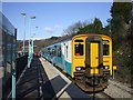 ST2689 : Cardiff-bound train in Rogerstone Station by John Lord