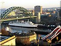 NZ2563 : Tyne Bridge and Swing Bridge from the Castle Keep by Andrew Curtis