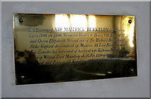 ST6834 : Memorial to Sir Maurice Berkeley - Bruton by Sarah Smith