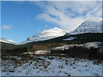 NN2327 : A85 carpark view of Ben Lui and Beinn Chuirn by Johnny Durnan