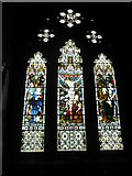 SU3521 : Stained glass window in the chapel reserved for private prayer at Romsey Abbey by Basher Eyre