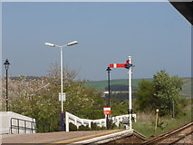 NO8686 : Old-style semaphore signal, Stonehaven station by Ruth Sharville