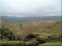 NY2201 : Hardknott pass looking towards Hardknott Castle by Chris Holifield