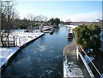 TQ1479 : A frozen Grand Union Canal - view from The Three Bridges - looking westward by J Taylor