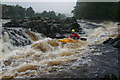 NY8928 : The upper part of Salmon Leap Fall (aka The Dogleg) on the Tees by Andy Waddington