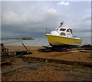 TR3752 : Beached boat Deal sea front by Steve  Fareham