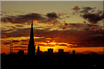 SJ8298 : Salford Skyline at Sunset by ron layters