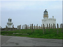 NJ9967 : Fraserburgh, New and Old Lighthouses by JThomas