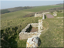 SS8872 : Outer wall, Dunraven Castle remains. by Mick Lobb