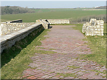SS8872 : Brick paving and bench, Dunraven Castle remains. by Mick Lobb