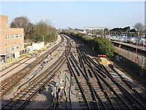 TQ5686 : London Underground District line tracks to the east of Upminster station by Oxyman