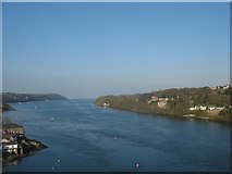 SH5571 : View eastwards along the Menai Straits from Pont y Borth by Eric Jones