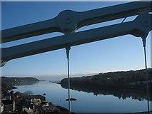 SH5571 : Afon Menai from Pont y Borth on a calm April morn by Eric Jones
