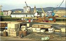 J3474 : Weir and cross-harbour links, Belfast (1) by Albert Bridge